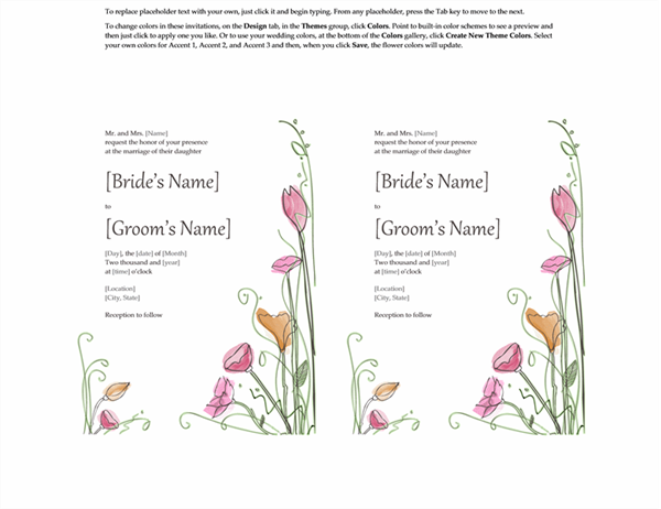 Wedding invitations (Watercolor design, 2 per page, works with Avery 5389)