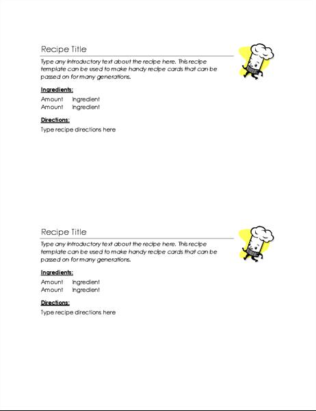 Recipe cards (2 per page)