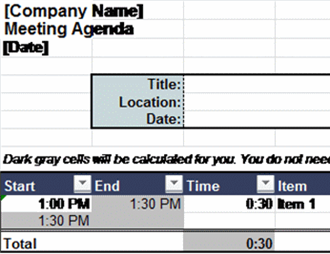 Adjustable meeting agenda