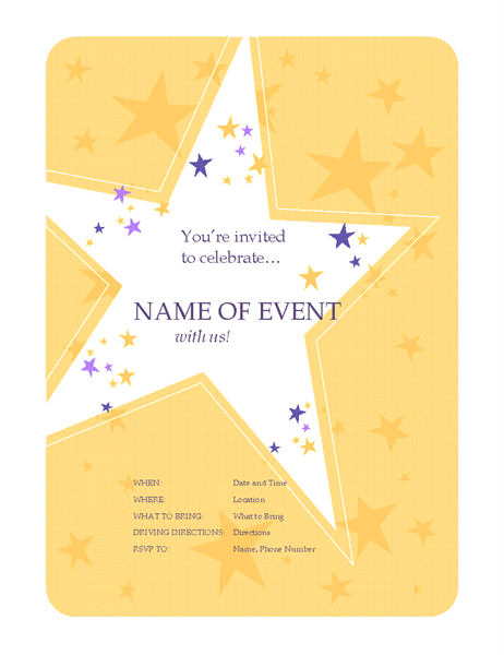 Party invitation flyer (star theme)