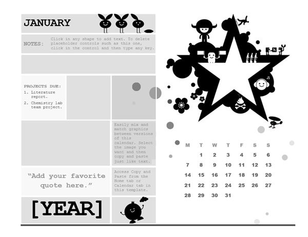 One-month student calendar (Monday start, star design)