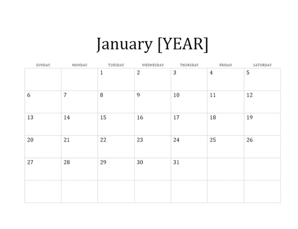 12-month basic calendar (any year)