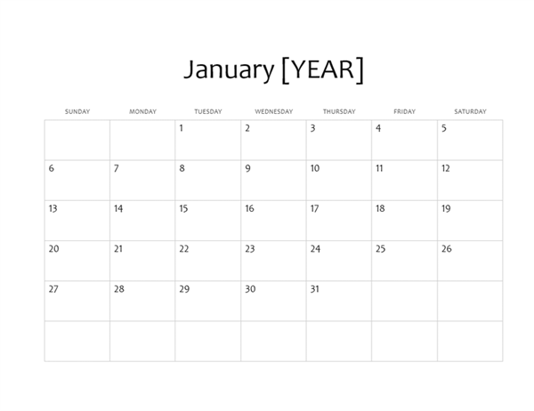 One-month basic calendar (any year)
