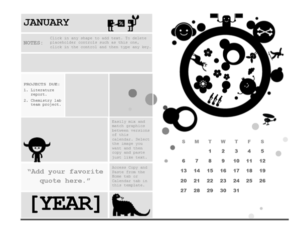 One-month student calendar (Sunday start, circle design)