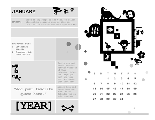 One-month student calendar (Sunday start, square design)