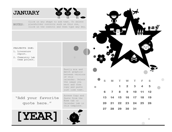One-month student calendar (Sunday start, star design)