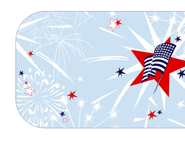 Independence Day party invitation (half-fold)
