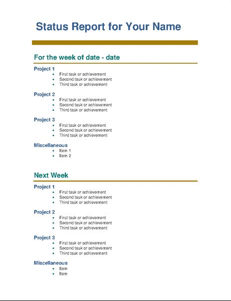 employee weekly status report
