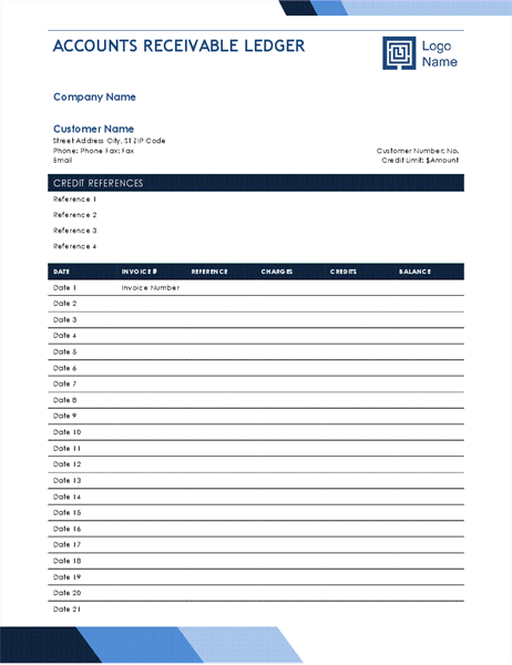 Accounts receivable ledger (Blue Gradient design)