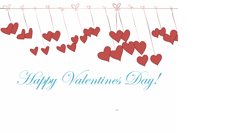 Valentine's Day card with animated hearts