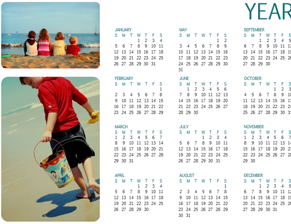 Family photo calendar (any year, 1 page)