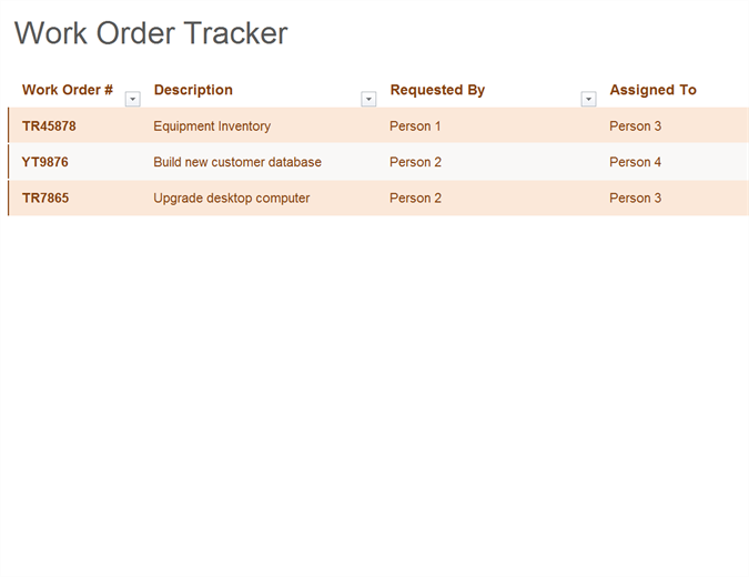 Work order tracker
