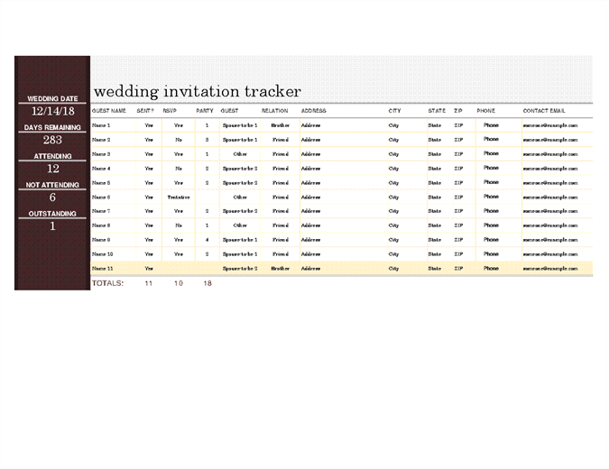 Wedding invite tracker