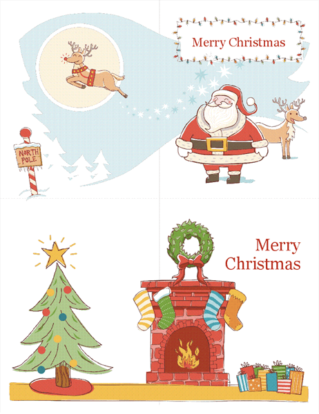 Christmas cards (Christmas Spirit design, 2 per page)
