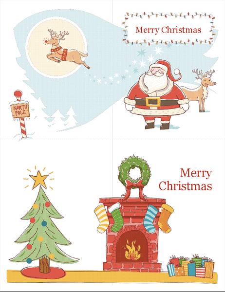 Christmas cards (Christmas Spirit design, 2 per page)