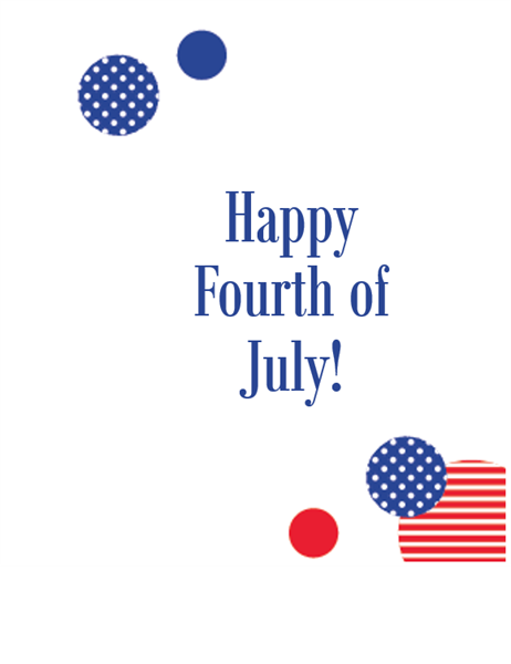 Independence Day card (quarter-fold)
