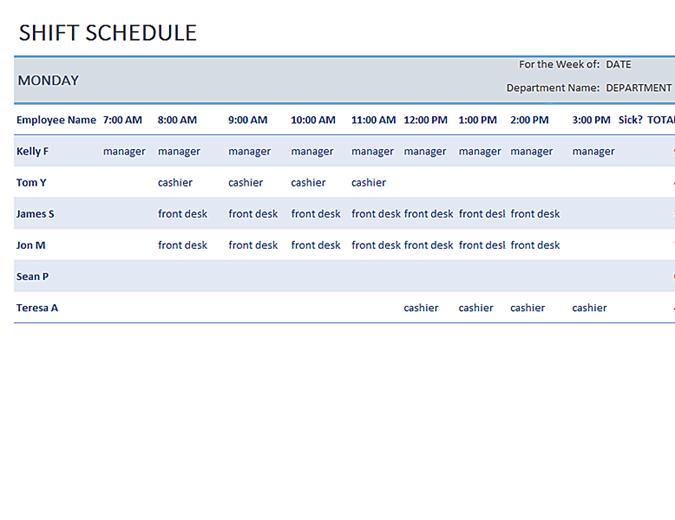 Weekly employee shift schedule