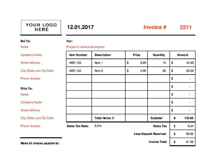 Invoice that calculates total (landscape)