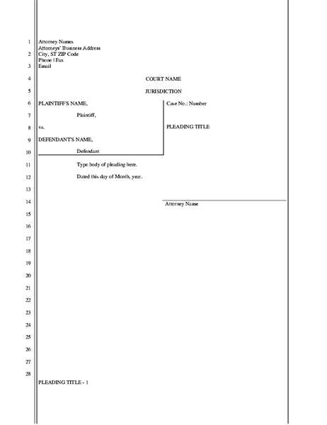 Legal pleading paper (28 lines)