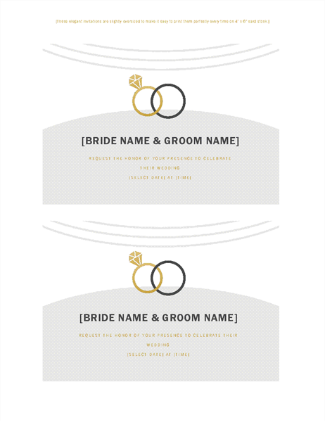 Wedding invitations (Deco design, 2 per page, for Avery 5889)