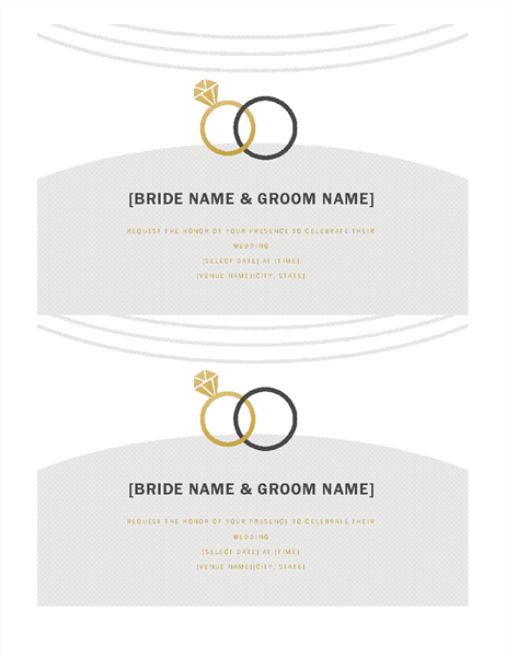Wedding invitations (Deco design, 2 per page)