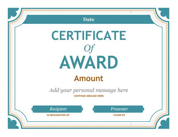 Gift certificate award