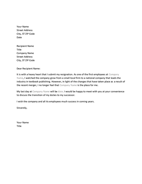 Letter of resignation due to merger