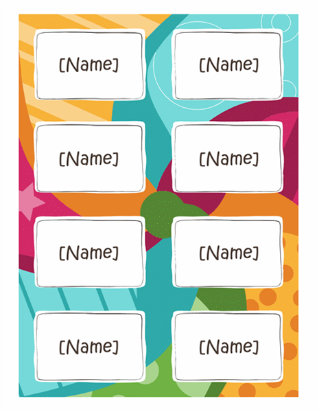 Name badges (Bright design, 8 per page, works with Avery 5395 and similar)