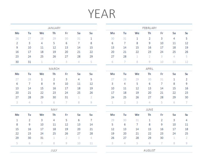 Any year calendar (Mon-Sun)