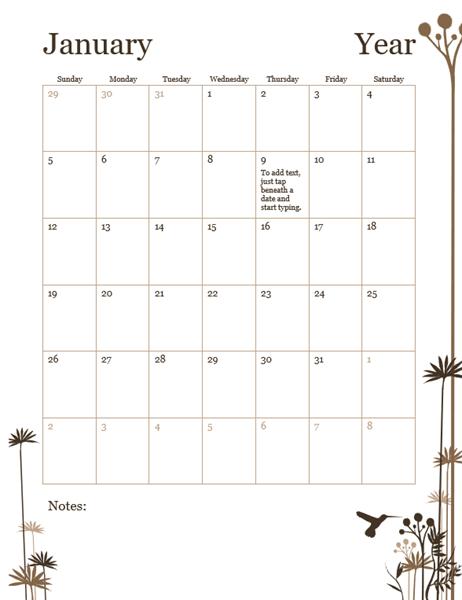 Hummingbird 12-month calendar (Sun-Sat)