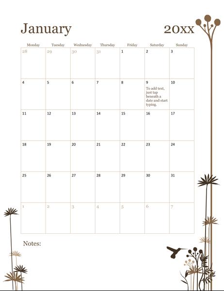 2019 12-month calendar (Mon-Sun)
