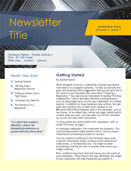 Business newsletter (4 pages)