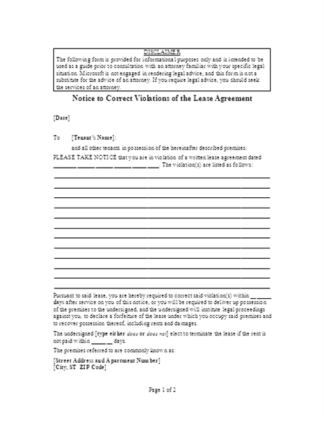 Notice to correct violations of lease agreement
