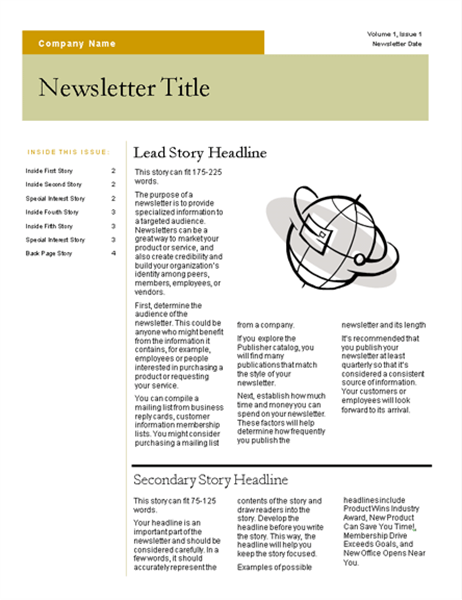 Newsletter (Bars design, 4 pages)