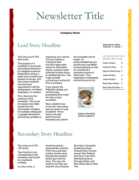 Business newsletter (Scallops design, 4 pages)