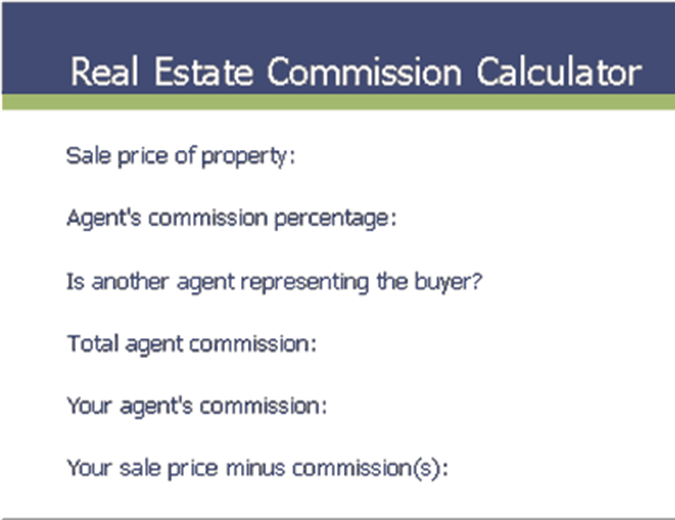 Real estate commission calculator