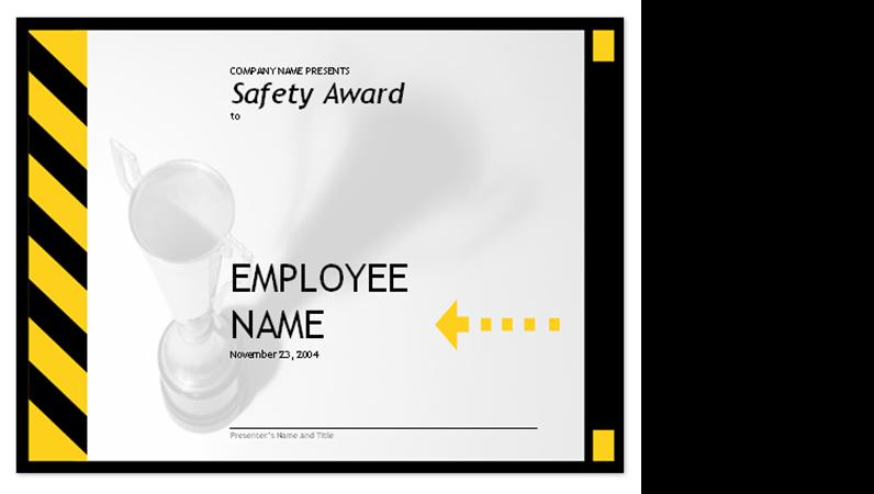 Employee safety award
