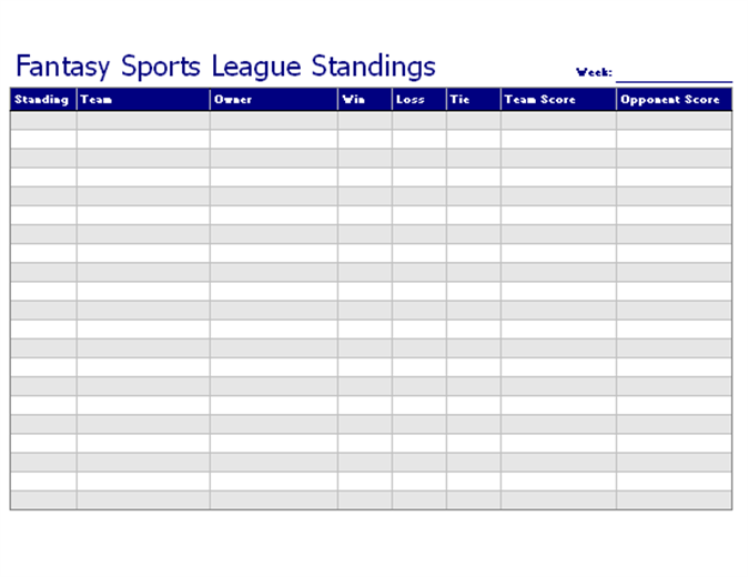 Weekly fantasy sports league tracker