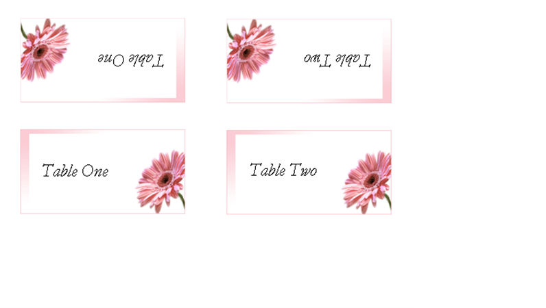 Numbered table tents (2 per page)
