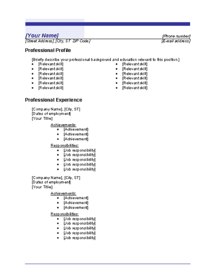 Chronological resume - CV (Blue Line design)