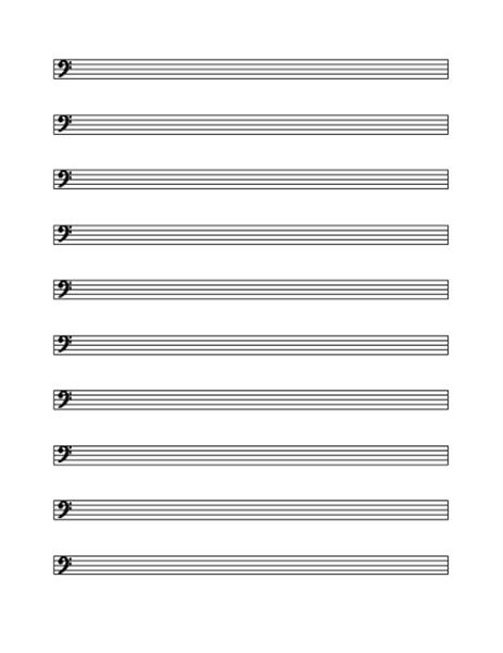 Bass clef staff (10 per page)