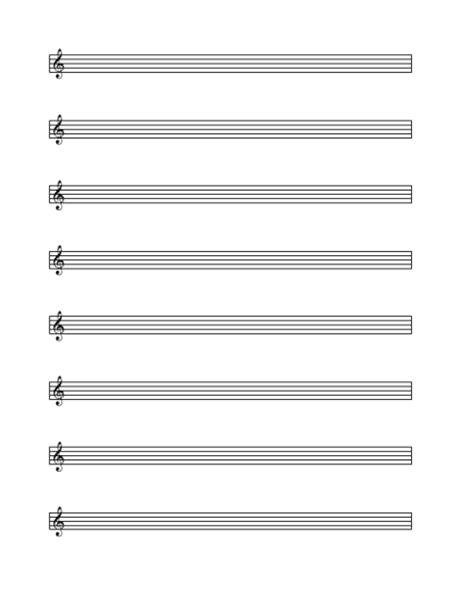 Treble clef staff (8 per page)