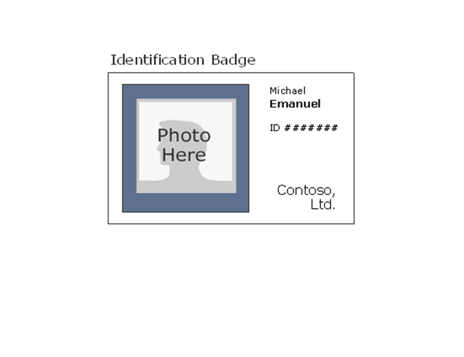 Employee photo ID badge (landscape)