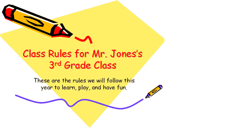 Elementary classroom rules presentation