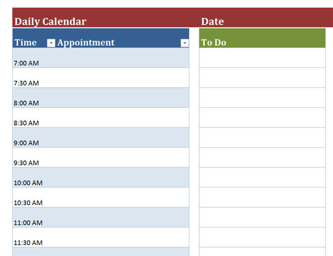graphic regarding Daily Printable Calendar named Blank every day calendar