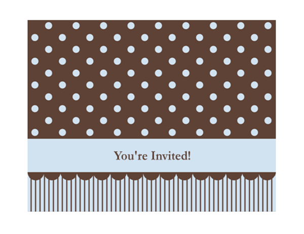 Invitation note card (blue and brown, quarter-fold, A2 size)