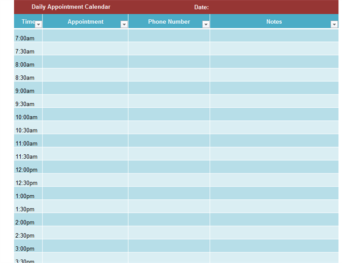 image regarding Appointment Calendars Printable named Day-to-day appointment calendar