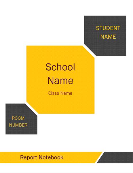 Student report notebook kit (cover, binder spine, divider tabs)