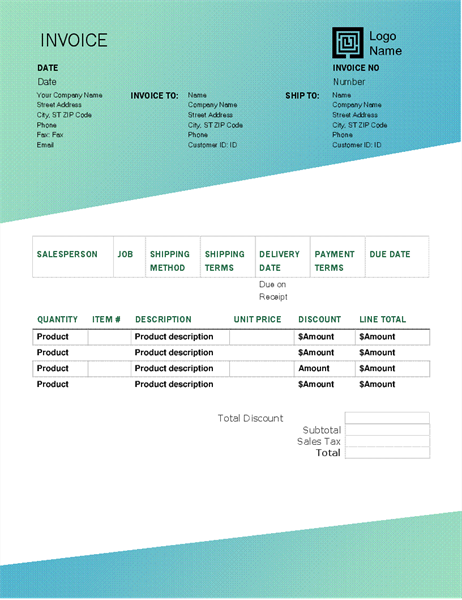Sales invoice (Green Gradient design)