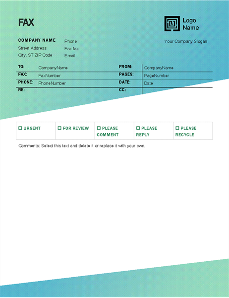 Fax cover sheet (Green Gradient design)